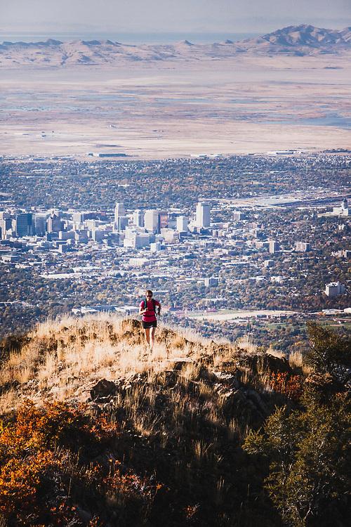 Jacki Arevalo runs above Salt Lake City toward Grandeur Peak.
