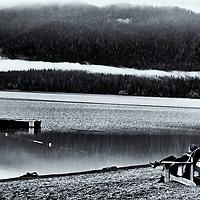 Lake Quinault Lodge, lake views, Olympic National Park, WA, USA, Black & White Giclee' Print edited 4/9/18<br /> converted to B&W 4/9/18<br /> printed 4/18/18