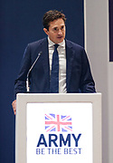 London, United Kingdom - 12 September 2019<br /> Johnny Mercer MP, Parliamentary Under-Secretary of State for Defence People and Veterans for the UK Government gives a keynote address speech and answers questions from the audience at DSEI 2019 security, defence and arms fair at ExCeL London exhibition centre.<br /> (photo by: EQUINOXFEATURES.COM)<br /> Picture Data:<br /> Photographer: Equinox Features<br /> Copyright: ©2019 Equinox Licensing Ltd. +443700 780000<br /> Contact: Equinox Features<br /> Date Taken: 20190912<br /> Time Taken: 10123049<br /> www.newspics.com