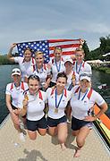 Lucerne, SWITZERLAND. USA W8+ Gold medalist  2012 FISA World Cup II, Lucerne Regatta.  Rotsee  Rowing Course,  Sunday  27/05/2012    [Mandatory Credit Peter Spurrier/ Intersport Images]..Bow, Ester LOFGREN, Zsuzsanna FRANCIA, Jameie REDMAN, Amanda POLK, Meghan MUSNICKI, Taylor RITZEL, Caroline LIND, Caryn DAVIES and cox Mary WHIPPLE.
