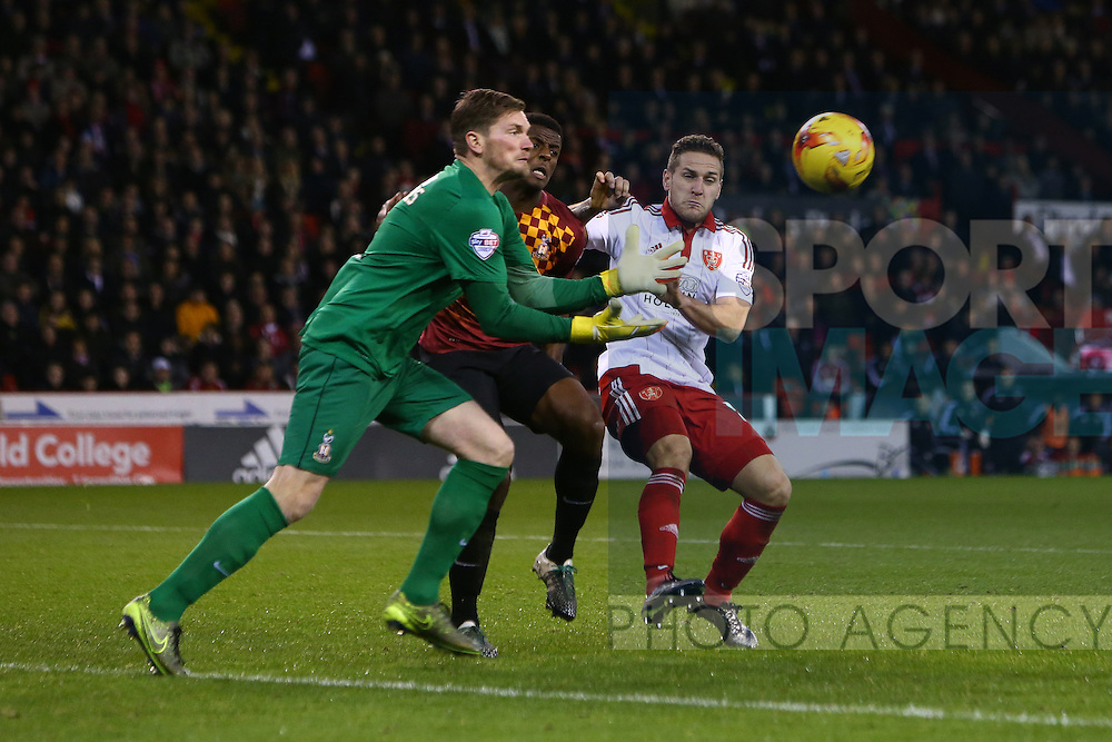Sheffield United's Billy Sharp contests a cross - Sheffield United vs Bradford City - Skybet League One - Bramall Lane - Sheffield - 28/12/2015 Pic Philip Oldham/SportImage