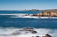 Coastal view towards Punta Gorda lighthouse, San Simeon, California