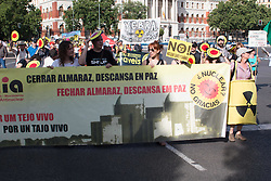 June 10, 2017 - Madrid, Spain - A banner agaisnt the Almaraz Nuclear Central. (Credit Image: © Jorge Gonzalez/Pacific Press via ZUMA Wire)