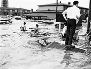 """Y-480530-04.  """"Last flood victims, some of them swimming, make their way out of swirling waters as current begins to speed up. A short time later the current became so strong it swept piles of wrecked houses into a jumbled heap at this point, near the North Denver Avenue underpass."""" May 30, 1948."""