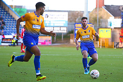 Calum Butcher of Mansfield Town passes to Jacob Mellis of Mansfield Town - Mandatory by-line: Ryan Crockett/JMP - 11/11/2018 - FOOTBALL - One Call Stadium - Mansfield, England - Mansfield Town v Charlton Athletic - Emirates FA Cup first round proper
