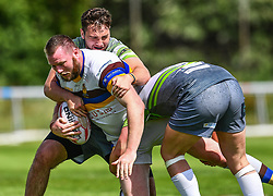 Whitehavens' Kris Coward is tackled by West Wales Raiders' Harry Boots<br /> <br /> Photographer Craig Thomas/Replay Images<br /> <br /> Betfred League 1 - West Wales Raiders v Whitehaven  - Saturday 23rd June 2018 - Stebonheath Park - Llanelli<br /> <br /> World Copyright © 2017 Replay Images. All rights reserved. info@replayimages.co.uk - www.replayimages.co.uk