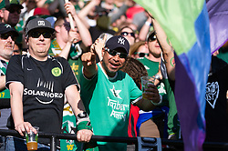 October 21, 2018 - Portland, OR, U.S. - PORTLAND, OR - OCTOBER 21, 2018: Portland Timbers fans enjoying the Portland Timbers 3-0 victory over Real Salt lake on October 21, 2018, at Providence Park in Portland, Oregon. (Photo by Diego Diaz/Icon Sportswire) (Credit Image: © Diego Diaz/Icon SMI via ZUMA Press)
