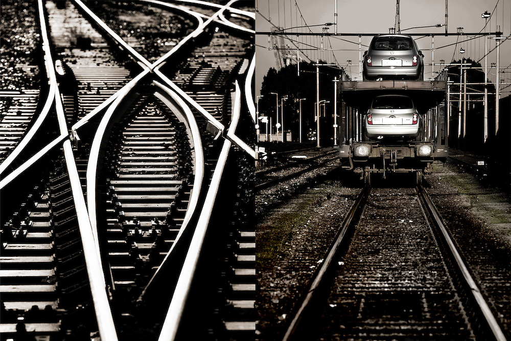 Netherlands. Amsterdam, 11-10-2010. Photo: Patrick Post.  Industrial yard for car transport. Prorail