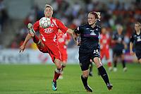 FOOTBALL - UEFA WOMEN'S CHAMPIONS LEAGUE 2009/2010 - FINAL - OLYMPIQUE LYONNAIS v FFC TURBINE POTSDAM - 20/05/2010 - BIANCA SCHMIDT (POTSDAM) - ISABELL LEHN HERLOVSEN (LYON)<br /> PHOTO FRANCK FAUGERE / DPPI