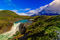 Salto Grande Waterfall (Paine Grande in background),  Torres del Paine National Park, Patagonia, Chile