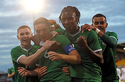 Republic of Ireland's Conor Coventry (centre) celebrates scoring their side's first goal of the game with team-mates during the UEFA Under-21 Championship Qualifying Round Group F match at the Tallaght Stadium, Dublin. Picture date: Friday October 8, 2021.
