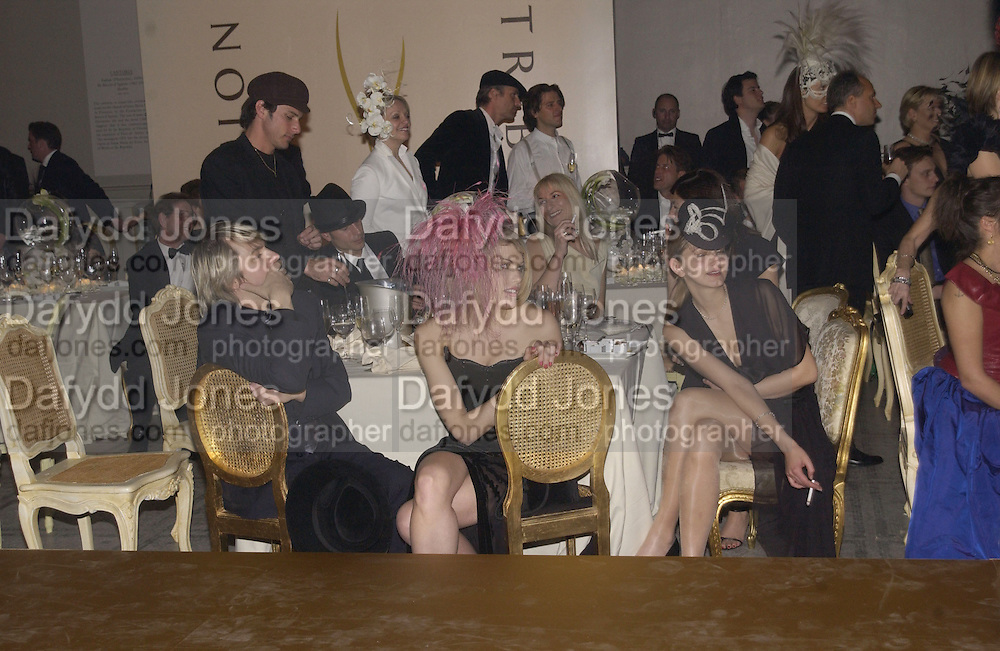 Meredith Ostron and Jasmine Guinness. Moet and Chandon fashion tribute to Philip treacy. V. & a. 16 April 2002. © Copyright Photograph by Dafydd Jones 66 Stockwell Park Rd. London SW9 0DA Tel 020 7733 0108 www.dafjones.com