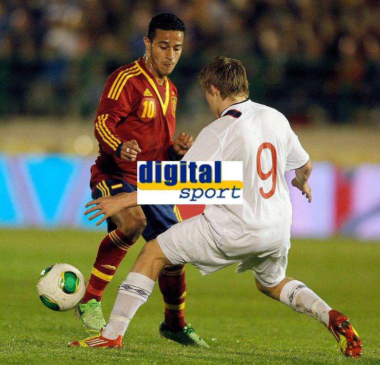 Spain's THiago Alcantara (l) and Norway's Svensson during international sub21 match.March 21,2013. (ALTERPHOTOS/Acero)
