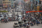 Traffic on a busy street in Hanoi, Vietnam.