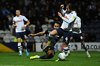 Preston North End's Ben Pearson is tackled by Reading's Liam Moore<br /> <br /> Photographer Kevin Barnes/CameraSport<br /> <br /> The EFL Sky Bet Championship - Preston North End v Reading - Sunday 29th December 2019 - Deepdale Stadium - Preston<br /> <br /> World Copyright © 2019 CameraSport. All rights reserved. 43 Linden Ave. Countesthorpe. Leicester. England. LE8 5PG - Tel: +44 (0) 116 277 4147 - admin@camerasport.com - www.camerasport.com