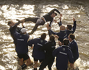 Putney, London, ENGLAND, 02.04.2006, Oxford, through the cox Seb Pearce in after winning the 2006 Varsity,Boat Race, Oxford vs Cambridge,  © Peter Spurrier/Intersport-images.com.[Mandatory Credit Peter Spurrier/ Intersport Images] 2006, Varsity Boat Race,  Varsity, Boat race. Rowing Course: River Thames, Championship course, Putney to Mortlake 4.25 Miles