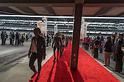 April 1, 2016; Indianapolis, Ind.; The UAA women's basketball team walks the red carpet at the Women's Final Four Salute at the Indianapolis Motor Speedway.