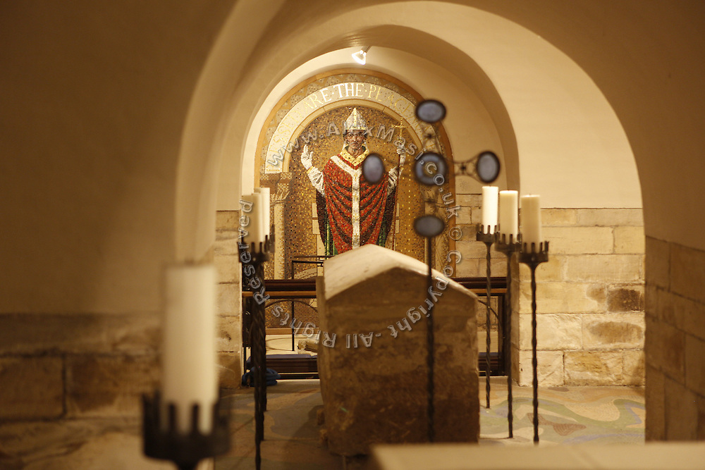 Christian artefacts are exhibited inside York Minster, Yorkshire, England, United Kingdom.
