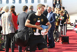 15.07.2014, Flughafen, Muenchen, GER, FIFA WM, Empfang der Weltmeister in Deutschland, Finale, im Bild Thomas Mueller #13 (Deutschland) kommt aus der Maschiene // during Celebration of Team Germany for Champion of the FIFA Worldcup Brazil 2014 at the Flughafen in Muenchen, Germany on 2014/07/15. EXPA Pictures © 2014, PhotoCredit: EXPA/ Eibner-Pressefoto/ Kolbert  *****ATTENTION - OUT of GER*****