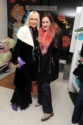 Left to right, VIRGINIA BATES and MARY FELLOWES at a party to celebrate the publication of Camilla Morton's book 'A Year in High Heals' held at Bliss Spa, 60 Slaone Avenue, London on 5th February 2009.