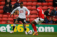 Tom Ince of Derby County under pressure from Rod Fanni of Charlton Athletic (r). Skybet football league championship match, Charlton Athletic v Derby County at The Valley  in London on Saturday 16th April 2016.<br /> pic by Steffan Bowen, Andrew Orchard sports photography.