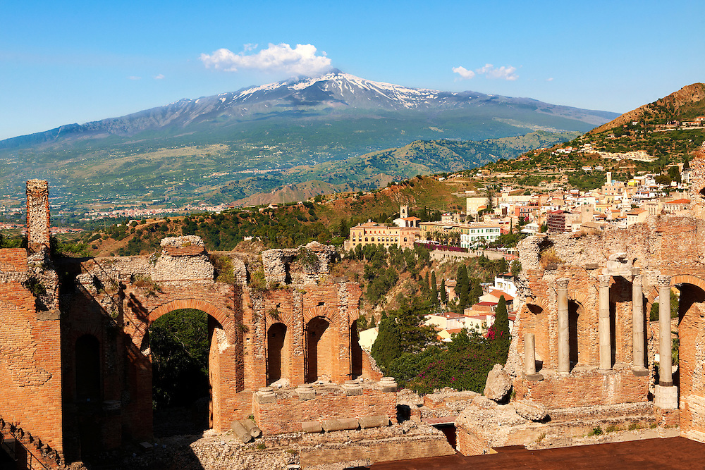 Greek Theatre Ampitheatre - Taormina Sicily .<br /> <br /> Visit our SICILY PHOTO COLLECTIONS for more   photos  to download or buy as prints https://funkystock.photoshelter.com/gallery-collection/2b-Pictures-Images-of-Sicily-Photos-of-Sicilian-Historic-Landmark-Sites/C0000qAkj8TXCzro