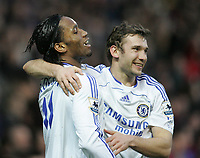 Photo: Lee Earle.<br /> Portsmouth v Chelsea. The Barclays Premiership. 03/03/2007.Chelsea's Andriy Shevchenko(R) celebrates with Didier Drogba after he scored their first.