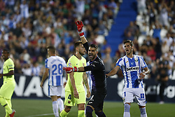 September 26, 2018 - Leganes, Madrid, Spain - ngel Cuéllar (CD Leganes) reacts during the La Liga match between CD Leganes and FC Barcelona at Butarque Stadium in Leganes. (Credit Image: © Manu Reino/SOPA Images via ZUMA Wire)