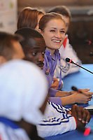 ATHLETICS - EUROPEAN CHAMPIONSHIPS INDOOR PARIS-BERCY 2011 - PRESS CONFERENCE PRESENTATION - PARIS (FRA) - 03/03/2011 - PHOTO : STEPHANE KEMPINAIRE / DPPI  <br /> CHRISTINA VUKICEVIC (NOR) - WOMEN'S 60 M HURDLES