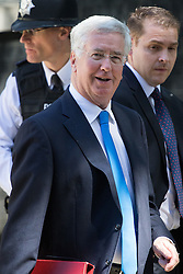 Downing Street, London, July 19th 2016. Defence Secretary Michael Fallon leaves the first full cabinet meeting since Prime Minister Theresa May took office.