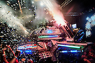 """Superpop, """"the fire eagle, the crowd pusher"""", one of the biggest machines in Belem. In the middle of the night, the fire eagle takes off graciously thanks to its hydraulic system and shoots its fireworks and lasers, in a pyrotechnic show at the edge of technology.."""