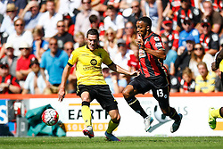 Callum Wilson of AFC Bournemouth under pressure efrom Jordan Veretout of Aston Villa - Mandatory by-line: Jason Brown/JMP - Mobile 07966 386802 08/08/2015 - FOOTBALL - Bournemouth, Vitality Stadium - AFC Bournemouth v Aston Villa - Barclays Premier League - Season opener