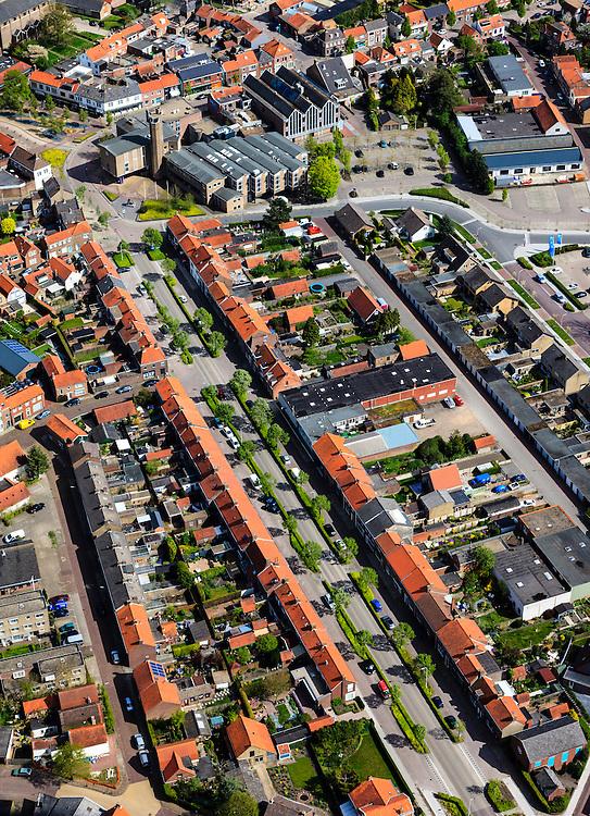 Nederland, Zeeland, Gemeente Sluis, 09-05-2013;  Oostburg, hoofdplaats van de gemeente Sluis. Nieuwstraat met Stadhuis.<br /> Oostburg is tijdens de Tweede Wereldoorlog zwaar beschadigd en vrijwel geheel herbouwd (naoorlogs wederopbouwgebied). <br /> The village of Oostburg (Zeeland) is heavily damaged during World War II and almost completely rebuilt. <br /> luchtfoto (toeslag op standard tarieven);<br /> aerial photo (additional fee required);<br /> copyright foto/photo Siebe Swart.