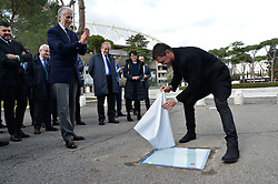 March 12, 2018 - Rome, Italy - The president of the Italian Olympic Committee (CONI), Giovanni Malago (L) and former player Paolo Maldini (R) during the ceremony Walk of Fame in Rome, Italy, on 12 March 2018. The Walk of Fame is enriched with 5 more samples. Along the Via Olimpiadi, which leads straight to the Olympic stadium in Rome, new plates have been added dedicated to five blue champions no longer in business: the historic Milan captain and national defender, soccer player Paolo Maldini, the swimmer Massimiliano Rosolino, the middle distance runner Luigi Beccali, the cyclist Ercole Baldini and the volleyball player Samuele Papi. (Credit Image: © Silvia Lore/NurPhoto via ZUMA Press)