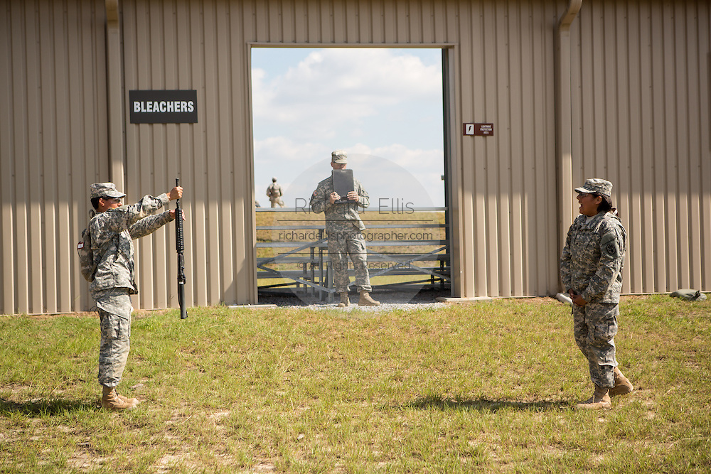 A woman Drill Sergeant candidate at the US Army Drill Instructors School practice drill instruction Fort Jackson September 26, 2013 in Columbia, SC. While 14 percent of the Army is women soldiers there is a shortage of female Drill Sergeants.