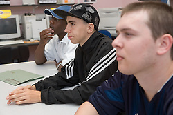 Entry 2 Employment students listening to trainer; Sycamore Centre Nottingham ,,