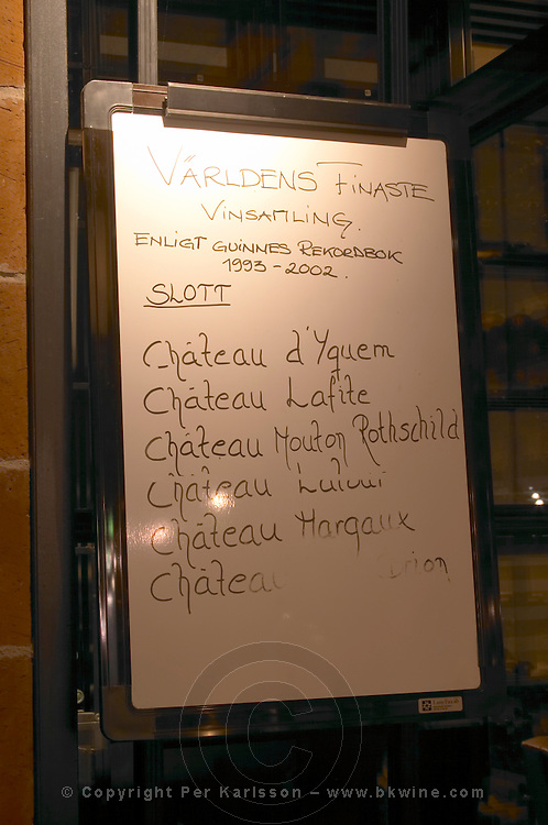 A whiteboard explaining that the wine cellar contains the world's finest collection of Bordeaux Chateau d'Yquem, Lafite, Mouton Rothschild, Latour, Margaux and Haut-Brion as per the Guinness Book of Records  Ulriksdal Ulriksdals Wärdshus Värdshus Wardshus Vardshus Restaurant, Stockholm, Sweden, Sverige, Europe