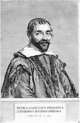 Pierre Gassendi (1592-1655) French philosopher and scientist, friend of Kepler and Galileo. Calculated velocity of sound in air with some accuracy. Engraving