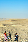 Israel, northern plains Negev desert, general landscape and view, Travellers enjoying the view