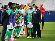 French President Emmanuel Macron, captain Loic Perrin of Saint-Etienne during the teams' presentation before the French Cup final football match between Paris Saint-Germain (PSG) and AS Saint-Etienne (ASSE) on Friday 24, 2020 at the Stade de France in Saint-Denis, near Paris, France - Photo Juan Soliz / ProSportsImages / DPPI