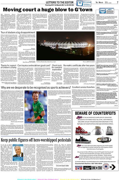 Publicatie in het Zuid Afrikaanse dagblad theHerald. Nelson Mandela Stadium