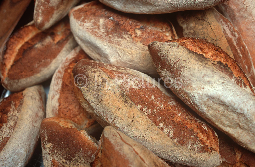 A detail of sourdough bread loaves at an artisanal bakery, on 20th April 2000, in London, England.