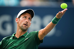 August 9, 2018 - Toronto, ON, U.S. - TORONTO, ON - AUGUST 09: Novak Djokovic (SRB) serves the ball during his third round match of the Rogers Cup tennis tournament on August 9, 2018, at Aviva Centre in Toronto, ON, Canada. (Photograph by Julian Avram/Icon Sportswire) (Credit Image: © Julian Avram/Icon SMI via ZUMA Press)