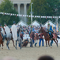 Equestrians in traditional 19th century Hungarian cavalry uniforms perform during the National Gallop held on Heroes' Square in Budapest, United Kingdom on September 17, 2011. ATTILA VOLGYI
