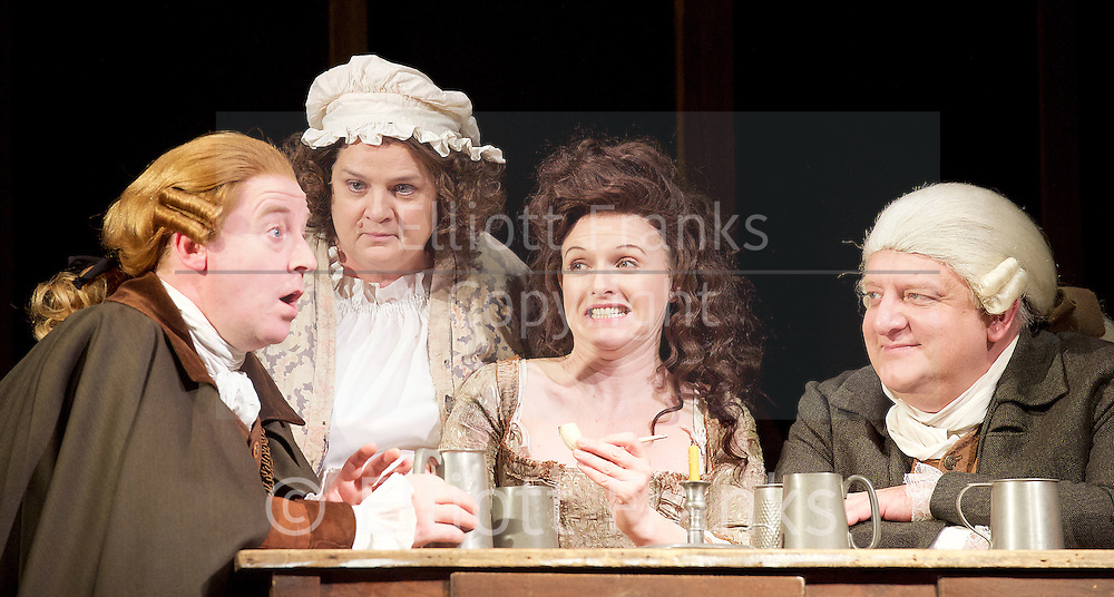 Mr Foote's Other Leg <br /> by Ian Kelly <br /> at Theatre Royal Haymarket, London, Great Britain <br /> press photocall<br /> 30th October 2015 <br /> <br /> <br /> <br /> <br /> Forbes Masson as John Hunter<br /> Jenny Galloway as Mrs Garner <br /> Dervla Kirwan as Peg Woffington <br /> Simon Russell Beale as Samuel Foote<br /> <br /> <br /> <br /> Photograph by Elliott Franks <br /> Image licensed to Elliott Franks Photography Services