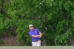 May 9, 2019 - Dallas, TX, U.S. - DALLAS, TX - MAY 09: Chad Campbell blasts out of a green side bunker on #9 during the first round of the AT&T Byron Nelson on May 9, 2019 at Trinity Forest Golf Club in Dallas, TX. (Photo by Andrew Dieb/Icon Sportswire) (Credit Image: © Andrew Dieb/Icon SMI via ZUMA Press)