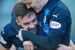 Raith Rovers Lewis Vaughan (10) cele scoring their second goal. Raith Rovers 2 v 1 Airdrie, Scottish Football League Division One game played 10/2/2018 at Stark's Park, Kirkcaldy.