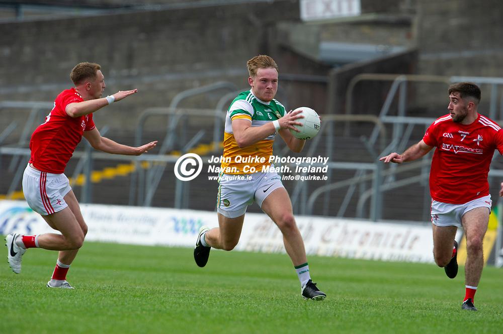 27-06-21. Offaly v Louth - Leinster Senior Football Championship at Pairc Tailteann, Navan.<br /> Carl Stewart, Offaly surging forward against Louth.<br /> Photo: John Quirke / www.quirke.ie<br /> ©John Quirke Photography, 16 Proudstown Road, Navan. Co. Meath. (info@quirke.ie / 046-9028461 / 087-2579454).