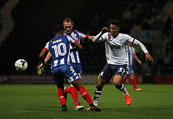 Callum Robinson of Preston North End (R) and Shaun MacDonald of Wigan Athletic (C) in action - Mandatory by-line: Jack Phillips/JMP - 23/09/2016 - FOOTBALL - Deepdale - Preston, England - Preston North End v Wigan Athletic -  EFL Sky Bet Championship
