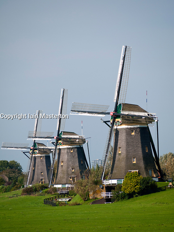 Three historic windmills at Leidschendam  near The Hague in The Netherlands